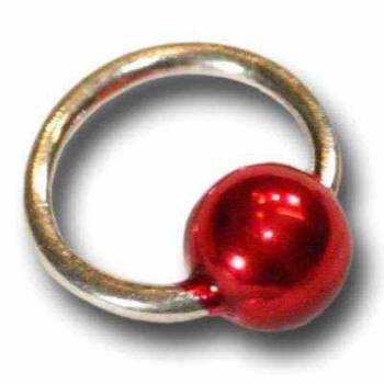 Nail-Piercing Ring, Nagelpiercing silber / rot
